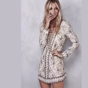 Free People Sicily Beaded Lace Up Mini Dress 2 XS